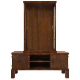 Rosewood Art Deco Display Cabinet and Credenza, Circa 1930 For Sale