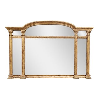 Decorative Large Gilt Painted Regency Style Mantel Mirror For Sale