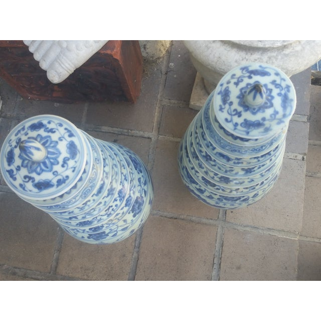 Chinese Blue & White Pagoda Temple Vases - A Pair - Image 6 of 7