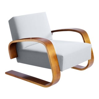 """Tank"" Armchair in Birch and Fabric Upholstery by Alvar Aalto & Artek For Sale"