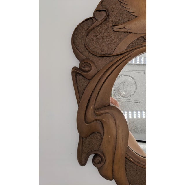 1980s Vintage Dove Bird Wood Mirror For Sale - Image 9 of 10