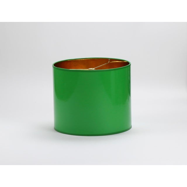 Small High Gloss Green Drum Lamp Shade For Sale - Image 6 of 6