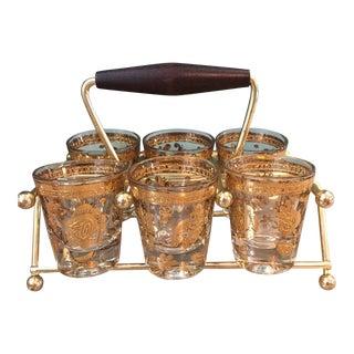Vintage Mid-Century Culver Shot Glass Set- 7 Pieces For Sale