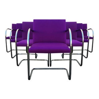 Purple Mies Van Der Rohe Tubular Brno Chairs by Knoll - Set of For Sale