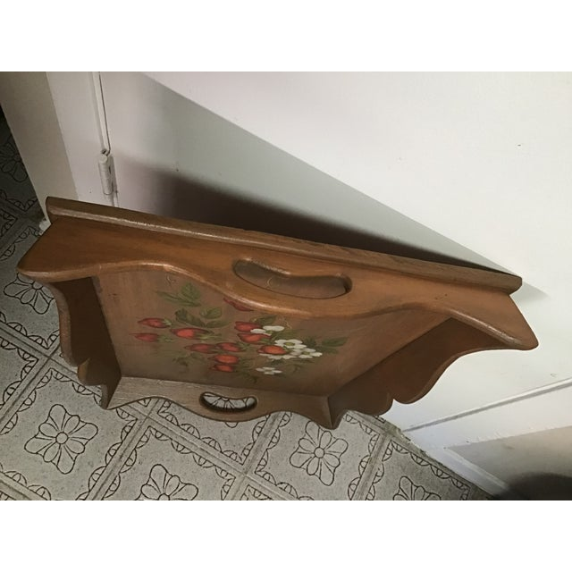 19th Century 19th Century Large Hand Painted Wood Serving Tray Fruit Painted Serving Tray Decorative Serving Tray For Sale - Image 5 of 12