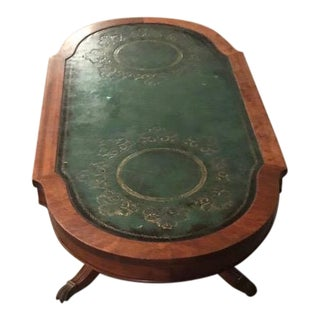 Antique Green Leather Coffee Table For Sale