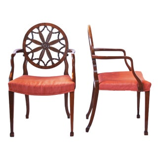 Pair of George III Mahogany Elbow Chairs in the Manner of Robert Adam