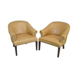 Tan Leather Pair of Barrel Back Club Chairs For Sale