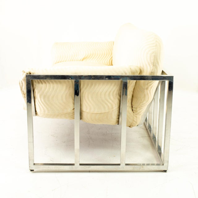 Milo Baughman Style Mid Century Floating Chrome Setee For Sale - Image 9 of 10
