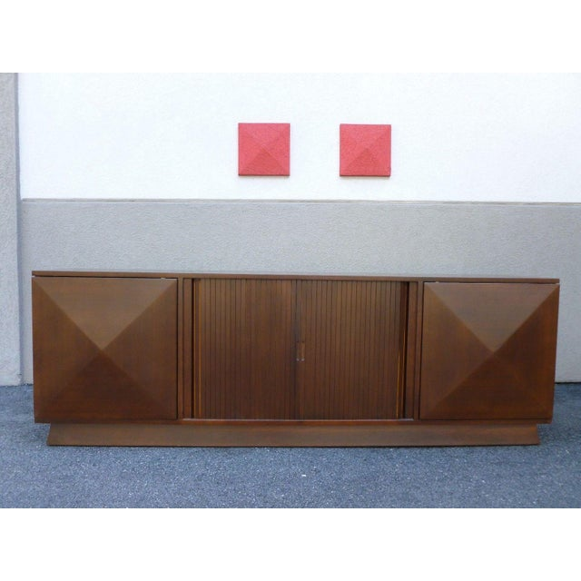 Teak Mid-Century Danish Modern Walnut Credenza W Pyramid & Tambour Doors For Sale - Image 7 of 7