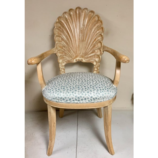 Wood Pair of Shell Backed Chairs in Leopard Upholstery For Sale - Image 7 of 12