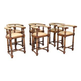 Antique Set of 6 Leather Bar Stools