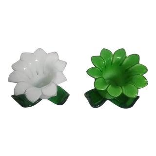 Vintage Hand Blown Glass 3-D Flowers - a Pair For Sale
