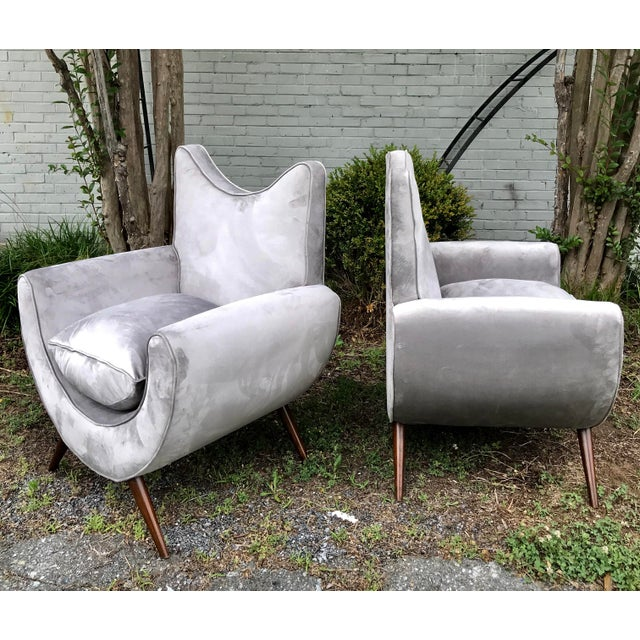 Wood Chic Lounge Chairs in the Manner of Jean Royere - a Pair For Sale - Image 7 of 13