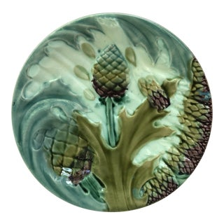 French Luneville Majolica Asparagus Plate Circa 1890 For Sale