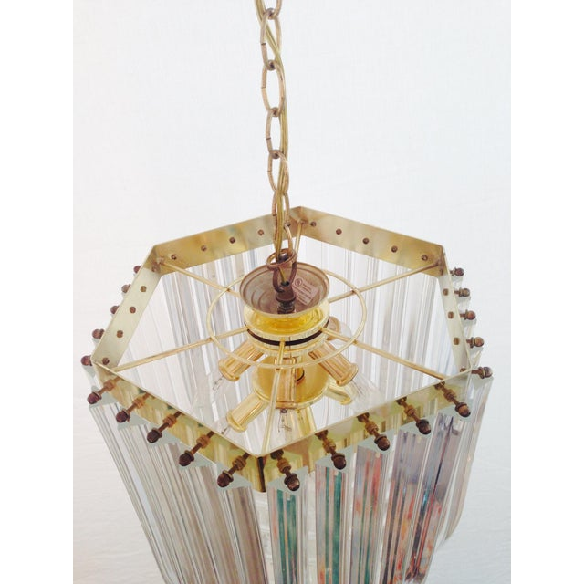1970s Italian Lucite & Brass Ribbon Chandelier - Image 5 of 6