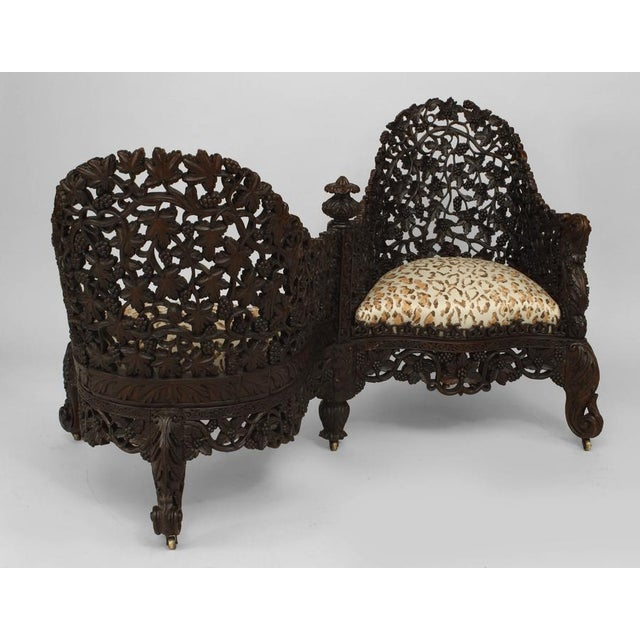 Asian Asian Burmese Style Carved and Filigree Rosewood Tete a Tete For Sale - Image 3 of 8