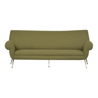 Modern Italian Velvet Sofa, Circa 1970's For Sale