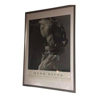 """Herb Ritts """"Man With Chain Fahey"""" Framed Lithograph For Sale"""