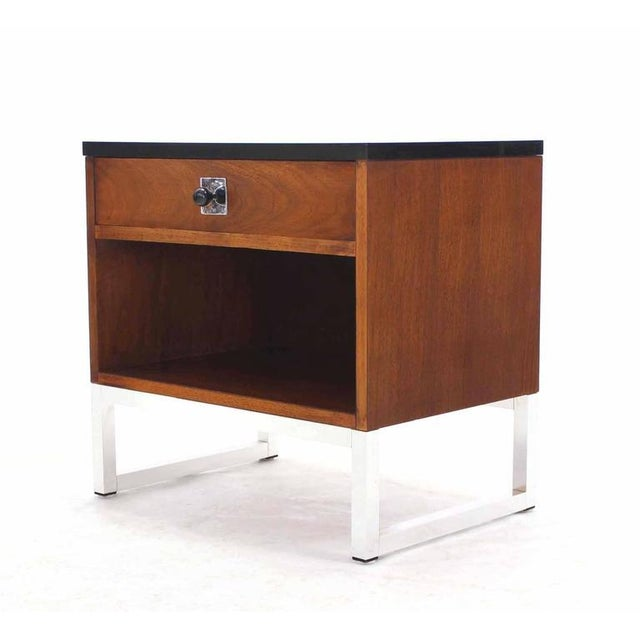Chrome Pair of Walnut & Chrome Nightstands For Sale - Image 7 of 9