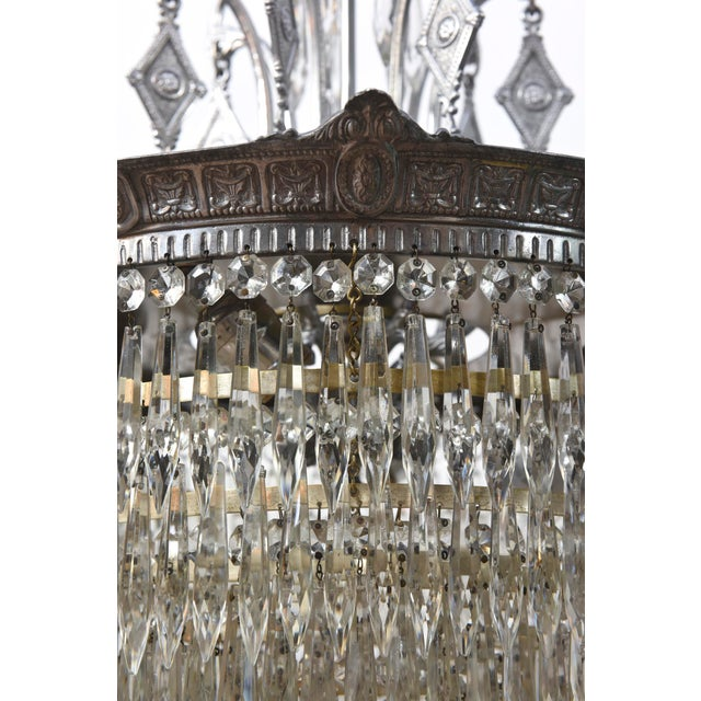 Tiered Crystal Four Light Fixture For Sale - Image 4 of 11