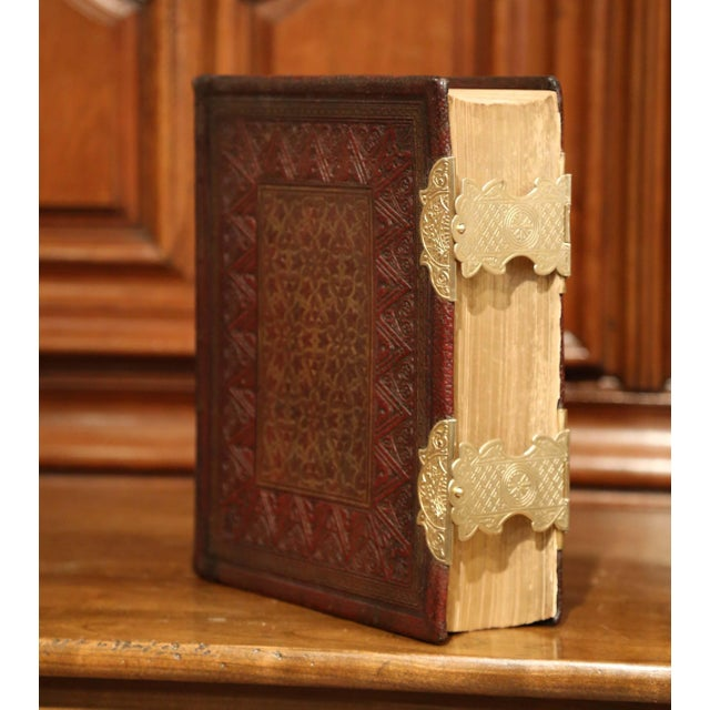 Metal 19th Century English Leatherbound and Brass Locks Holy Bible With Illustrations For Sale - Image 7 of 8