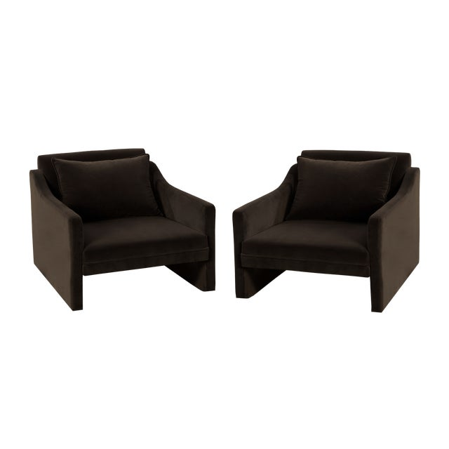Jared Bond Stately Club Chairs in Mink Chocolate Velvet - A Pair For Sale - Image 4 of 4