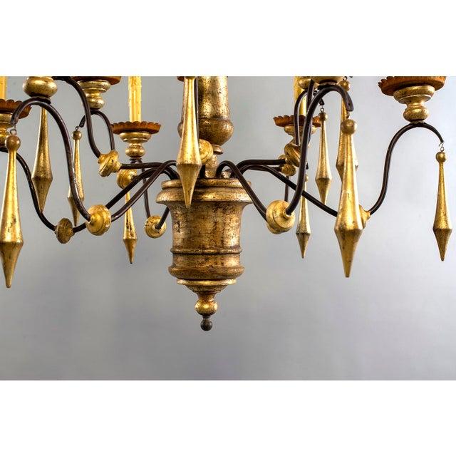 Italian Large Italian Twelve Light Gilt Wood Chandelier For Sale - Image 3 of 8