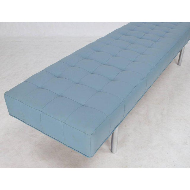Metal Tufted Light Blue Upholstery Chrome Cylinder Legs Long Bench Almost Daybed For Sale - Image 7 of 9