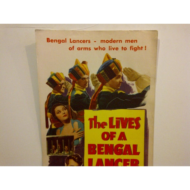 "Mid-Century Modern Vintage Movie Poster ""The Lives of a Bengal Lancer"" Gary Cooper 1950 For Sale - Image 3 of 6"