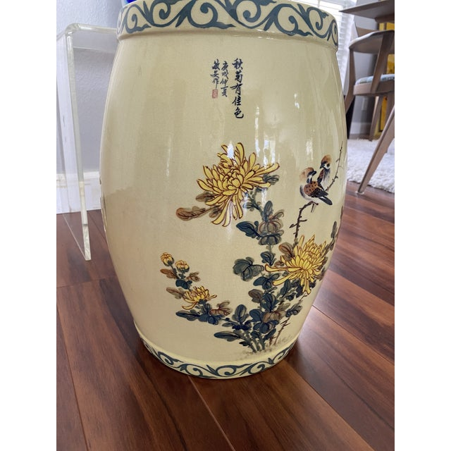 What a wonderful find! This is a lovely, vintage yellow, hand painted and glazed Garden Stool/side table. It features...