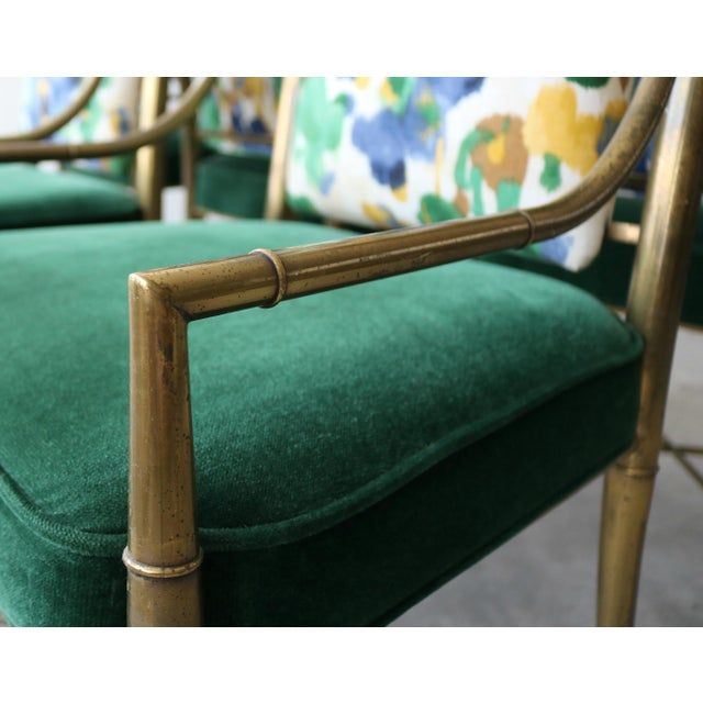 """Metal Set of 6 Solid Brass Faux Bamboo """"Imperial"""" Dining Chairs by Mastercraft For Sale - Image 7 of 8"""