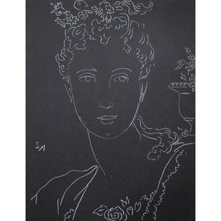 "Figurative Sarah Myers ""Woman With an Urn of Flowers"" White Charcoal Drawing For Sale"