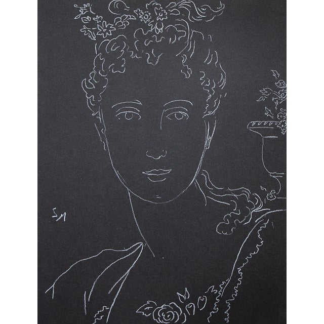"""Figurative Sarah Myers """"Woman With an Urn of Flowers"""" White Charcoal Drawing For Sale"""
