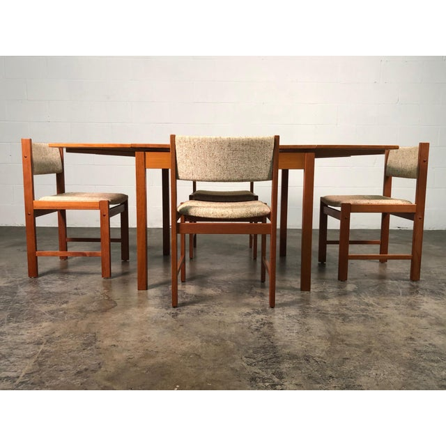Beautiful Teak Mid-Century Style Expandable Dining Table With 4-Chairs For Sale - Image 10 of 11
