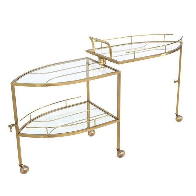 Unusual Iron Shape Folding Brass Tea Cart For Sale - Image 4 of 10