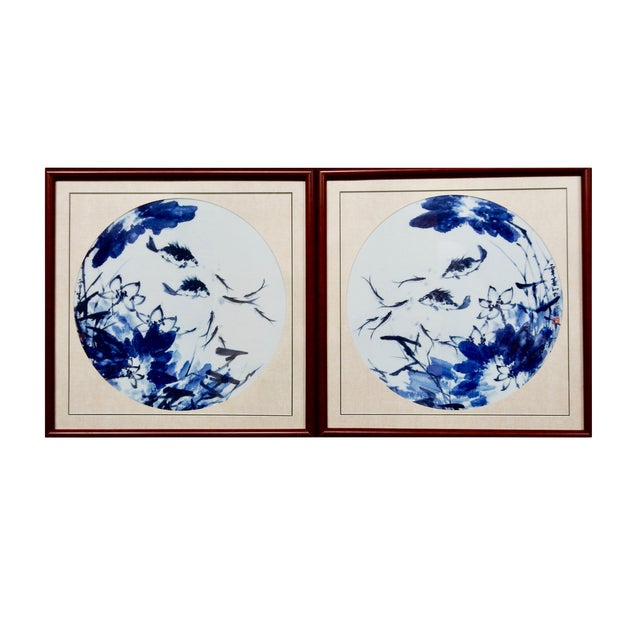 Blue & White Porcelain Fish Panels - A Pair - Image 1 of 6