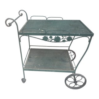 Vintage Wrought Iron Bar Cart For Sale