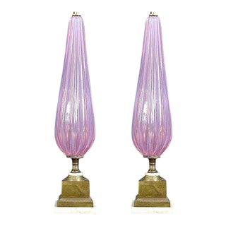 Italian Pink Murano Glass Table Lamps - A Pair