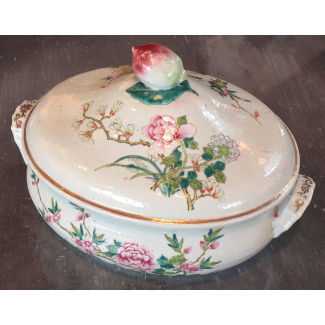 Asian Chinese Qing Dynasty Famille Rose Export Tureen For Sale - Image 3 of 7
