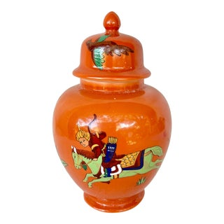 Vintage Orange Ginger Jar For Sale