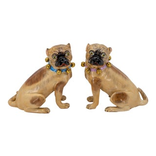 Mid 20th Century Dresden Porcelain Brown Pug Dogs - a Pair For Sale