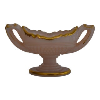 Cambridge Charleton Rose Crown Tuscan Footed Salt With Gold Trim For Sale