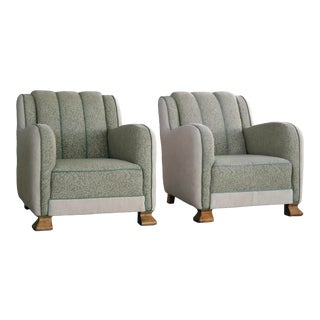 1940s Large-Sized Art Deco Danish Club Chairs - a Pair For Sale