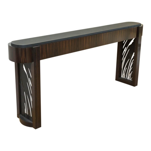 Macassar Ebony and Patinated Steel Console Table by Gregory Clark For Sale