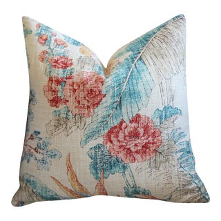 Peach + Teal Tropical Woven Pillow Cover 16x16 For Sale