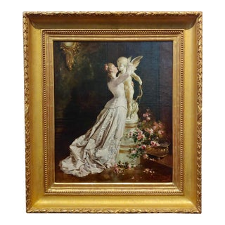 19th Century Jules-Elie Delaunay Young Lady Kissing Cupid Oil Painting For Sale