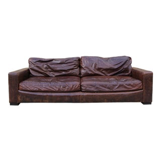 Restoration Hardware Distressed Leather Sofa For Sale