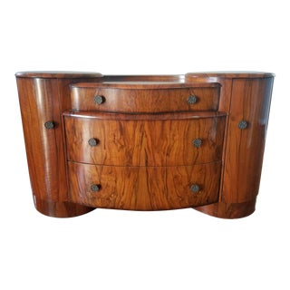 Art Deco Solid Mahogany With Burled Walnut Dresser