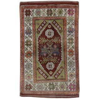20th Century Turkish Colorful Oushak Rug - 2′8″ × 4′1″ For Sale